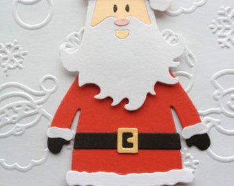 3 Santa Die Cut assembled card/toppers pre-made for cardmaking/scrapbooking