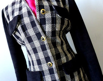 Ladies Designer Tweed Jacket Skirt Suit - Size Small - Vintage 90s 2pc Suit -Ports International Black and White Check Skirt Suit Euro Chic