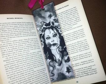 Memento Mori - Handmade Laminated Bookmark Print with Silver Charm