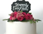 """Chalkboard Cake Topper, """"Happily Ever After"""""""