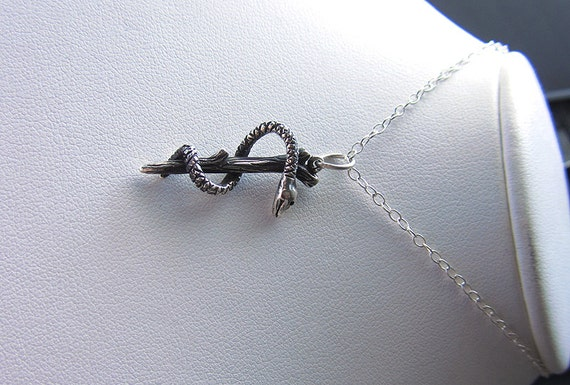 rod of asclepius medical nurse necklace handmade sterling