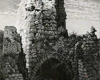 Tower Of The Castle At Caesarea, Israel Original Vintage Wood Engraving 1881 Holy Land Palestine Land Of Jesus Beautiful Landscape!