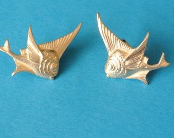 Vintage Fish-Shaped Earrings, Pisces Earrings, Sterling Silver Earrings