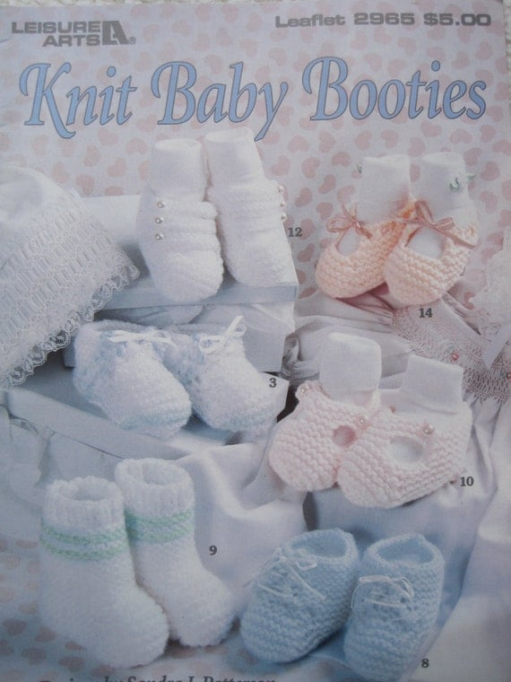 Knit Baby Booties Pattern Leaflet Leisure Arts 2965