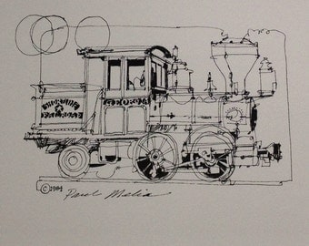 NO. L-41  Railroad I--Antique SteamTrain,  Locomotive, pen and ink train drawing