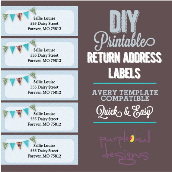 Pennant Banner Bunting Return Address Labels Avery Template – Return Label Template