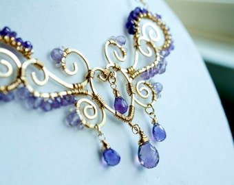 Purple Amethyst Wire Wrapped Statement Necklace, Unique Bridal Jewelry