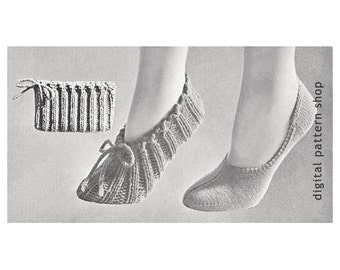 Knit Slippers Pattern- 1950s Vintage Travel Slippers Knitting Pattern Womens Bag Slippers and Footlets Instant Download PDF - K43