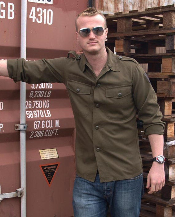 Austrian army fieldshirt shirt jacket olive khaki f2 military