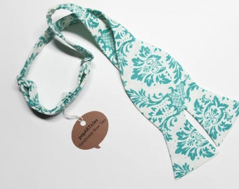 Freestyle Teal Bow Tie - Aqua Bow Tie - Damask Bow Tie - Self-Tie Bow Tie - Teal and White Bow Tie - Teal Damask Bow Tie