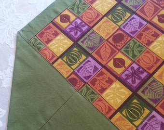 Beautiful Fall/Thanksgiving Table Runner in a Squares Print and Olive Green Accent