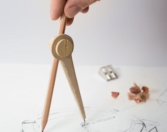 Drafting Compass - SET OF 3 - Drawing or Measuring Tool - Natural Wooden Primitive Modern Chic