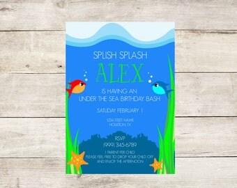 Under the Sea Birthday Invitation- Aquarium Theme Birthday Invite- Fish Theme Birthday Party Invitation- Aquarium Birthday