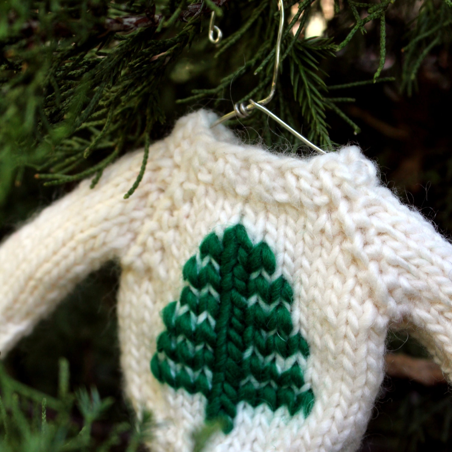 Knit Pattern Sweater Ornament : Christmas Knit PATTERN / Tree Mini Sweater Ornament / Knitting