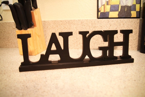 Personalized LAUGH Sign Wood Home decor gift for by CabanyCo