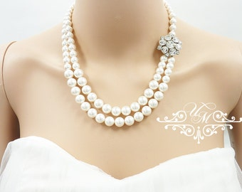 Wedding Necklace Double Strands Swarovski Pearl Necklace Rhinestone Necklace Bridal Necklace Bridal Jewelry Bridesmaids Necklace - NELLIE