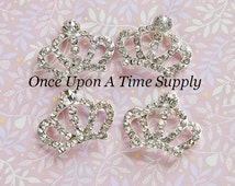 Princess Tiara Crown Rhinestone Buttons - Hair Bow Making  - Metal Shank Flower Hairbow Centers - Sparkling Craft Embellishment Suppy