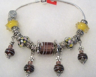 310 - CLEARANCE - Twisted Plum Dangle Bracelet