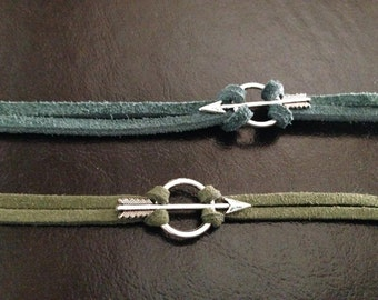 Green Arrow Bracelet DC Comic Inspired Jewelry Oliver Queen Green Suede Cord Silver Arrow Charm Comic Book Justice League Nerd Geek Gift