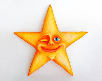 Happy Star - Paperclay - Handmade / Handpainted / Contemporany / Art / Acrylic Paint / Modern / Gift / Wall Decor / Funny