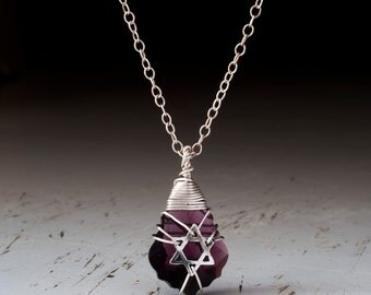 Purple Silver jewish star necklace