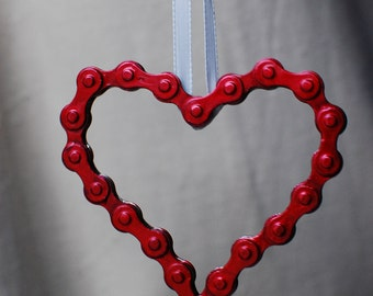 UpCYCLEd bike chain Red Heart Ornament