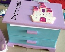 Customized jewelry organizer girls jewelry box personalized sparkly jewellery box blue purple princess castle BPA free non toxic wooden box