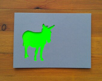 Papercut Christmas Card: Donkey. Neon & Grey