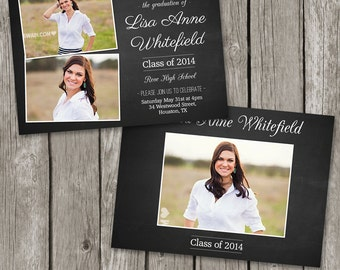 Senior Graduation Card - High School Senior Graduation Announcement Template -  College Grad Photoshop Template - GA08