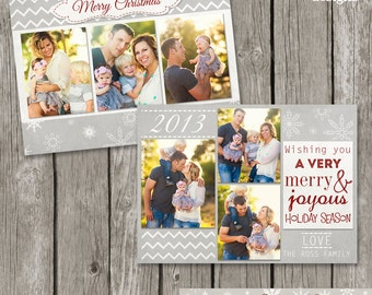 Christmas Card Template - Holiday Photo Card for Photographers - Printable Christmas Card Design - CC04