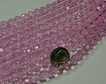 8mm  pinky pink round faceted crystals