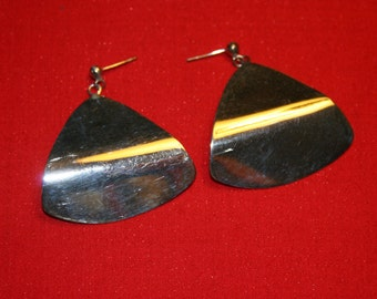 Modernistic Vintage 925 Sterling Silver Triangle Earrings Pierced