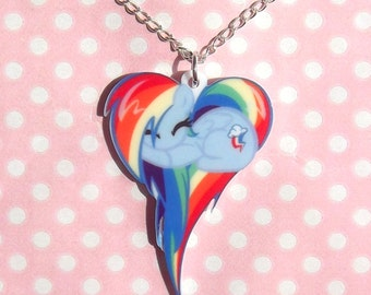 Rainbow Dash My Little Pony Friendship Is Magic sleeping heart necklace