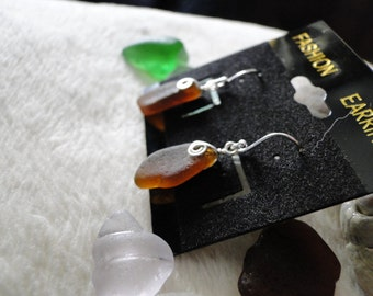 Brown Sea Glass Earrings *Sterling Silver*