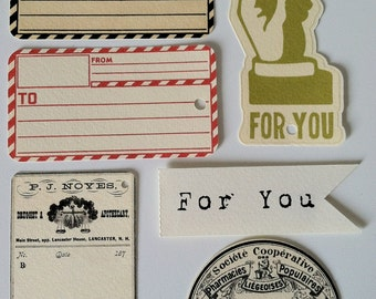 Bundle of 12 Vintage Tags-set of 12 Gift Tags various subjects