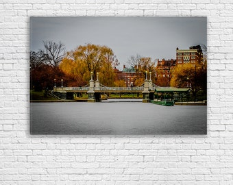 Boston Public Garden on Canvas | Boston Winter Print | Boston Bridge Landscape | Frozen Pond | Gallery Wrap | Boston MA
