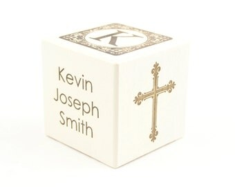 Personalized Baptism Gift White Wooden Block Nursery Decoration Religious Dedication Gift Christening Gift Religious Ceremony Baby's Baptism