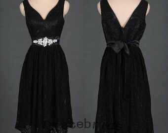 Dress simple bridesmaid dress with rhinestones belt holiday dress for