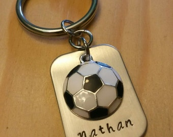 Hand Stamped Keychain Soccer Keychain - Soccer Team Gift