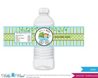 Boy Monkey Baby Shower Water Bottle Wrappers, Labels, - it's a  Boy Brown Green, Stroller - aa26bs5