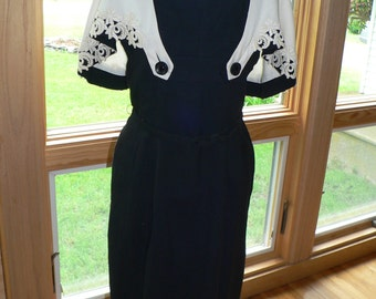 1950s Black Wiggle  Dress with Detachable White Caplet