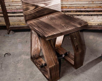 Chair in ash wood industrial style
