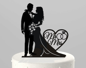 "Wedding Cake Topper Silhouette Bride and Groom with ""Mr & Mrs""  Acrylic Cake Topper [CT66mm]"