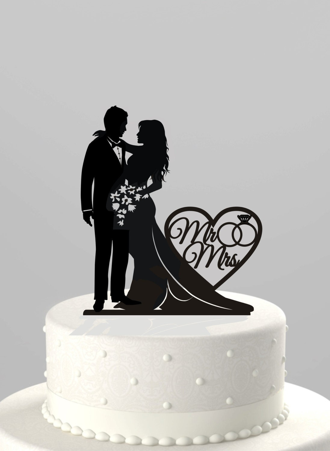 Wedding Cake Topper Silhouette Bride and Groom with Mr