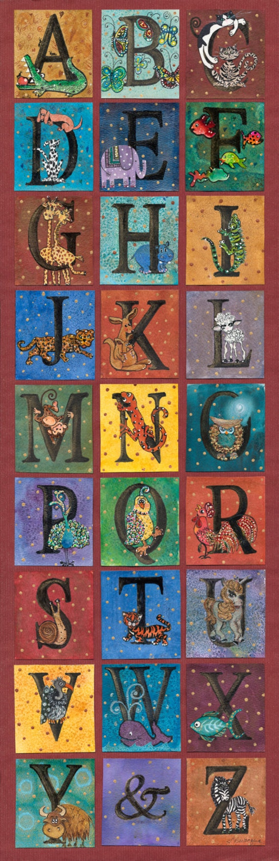"12x36"" Giclee Print Whimsical Animal Alphabet - Gender Neutral ABC Artwork for the Nursery"