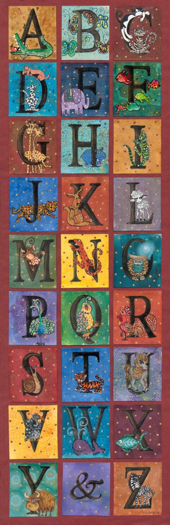 "12x36"" Giclee Print Whimsical Animal Alphabet - Gender Neutral ABC Artwork for the Nursery"
