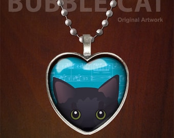 Rolly the Russian Blue Cat Necklace, Peeking Cat Pendant with Chain