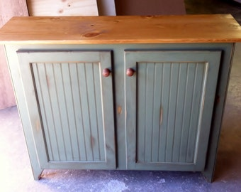 Rustic Handcrafted Wood Buffet Cabinet with Bead Board Panels. Storage with 1 adjustable shelf