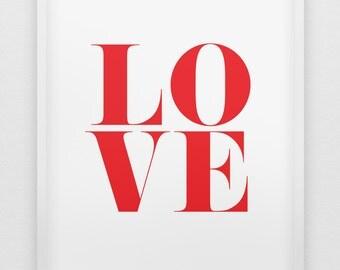 love print // red love print //  modern typographic love print  // anniversary gift // love poster