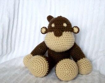 Crochet Monkey Stuffed Animal, Crochet Animal, Zoo Nursery, Amigurumi Monkey, Stuffed Animal, Monkey Nursery, Monkey Decor, Nursery Decor